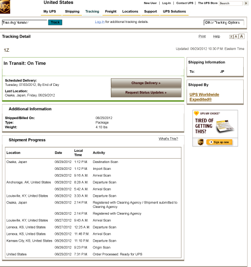 UPS: Tracking Information
